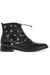 Schutz Lorn Studded Leather Ankle Boots Black