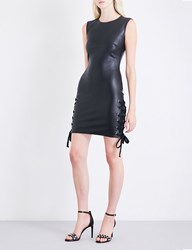 Versus By Versace X Zayn Fitted Faux Leather Dress Black