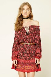 Forever 21 Floral Self Tie Peasant Dress Black Red