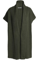 Agnona Ribbed Cashmere Cardigan Army Green