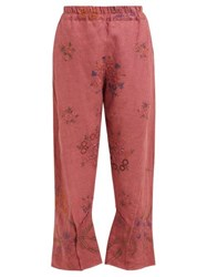By Walid Reyzi Floral Embroidered Linen Trousers Pink