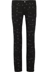 Isabel Marant Oswin Embroidered Mid Rise Skinny Jeans Black