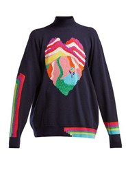 Barrie Dream In Space Heart Intarsia Cashmere Sweater Navy Multi