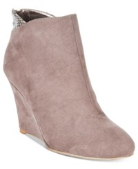 Thalia Sodi Lidiaa Wedge Booties Only At Macy's Women's Shoes Grey