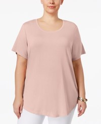 Jm Collection Plus Size Short Sleeve Top Only At Macy's New Pale Blush