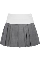 Alexander Wang Pleated Wool Mini Skirt Gray