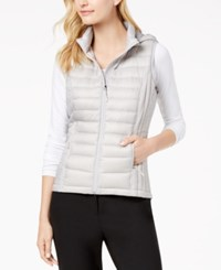 32 Degrees Hooded Packable Puffer Vest Silver Post