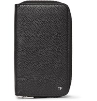 Tom Ford Full Grain Leather Travel Wallet Black