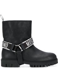 Moschino Logo Band Ankle Boots Black