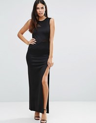Tfnc Maxi Dress With Mesh Detail And Side Split Black