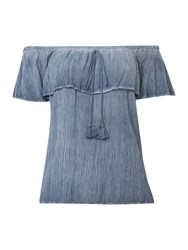 Linea Bardot Washed Blouse Blue