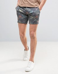 Solid Chino Shorts In Hawaiian Print 2958 Black