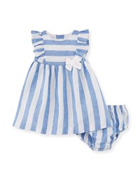 Mayoral Wide Stripe Dress W Matching Bloomers Size 2 12 Months Blue