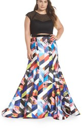 Mac Duggal Plus Size Women's Mesh And Print Two Piece Gown Black Multi