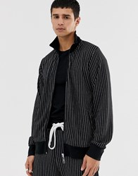 Criminal Damage Track Top In Black With Pin Stripe