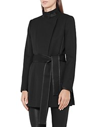 Reiss Lucy Belted Short Coat Black