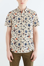 Cpo Short Sleeve Chambray Floral Button Down Shirt Cream