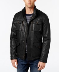 Tommy Hilfiger Men's Faux Leather Field Jacket Black
