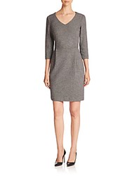 Peserico Double Cotton Jersey Micro Pattern V Neck Dress Black White