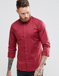 Noose And Monkey Skinny Shirt With Point Collar With Stretch Wine Red