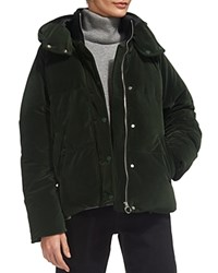 Whistles Iva Velvet Puffer Jacket Green