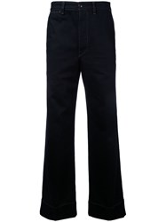 Christophe Lemaire Wide Leg Trousers Men Cotton 46 Black