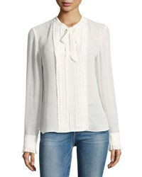 Frame Edwardian Pleated Tie Neck Blouse Off White