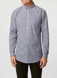 Topman Navy Gingham Button Down Long Sleeve Smart Shirt Blue
