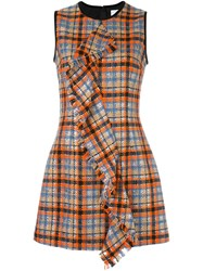 Msgm Checked Ruffled Front Dress Multicolour