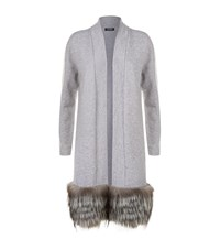 Harrods Fox Hem Cashmere Cardigan Grey