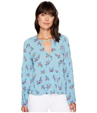 Brigitte Bailey Alia Long Sleeve Wrap Top Blue Women's Clothing