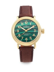 Shinola Runwell Coin Edge Malachite Goldtone Stainless Steel And Leather Strap Watch