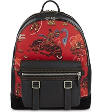 Coach Wild West Flag Leather Backpack Red Blk