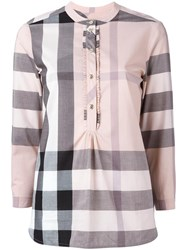 Burberry Front Placket Checked Shirt Pink Purple