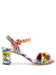 Dolce And Gabbana Majolica Print Brocade Sandals Red Multi