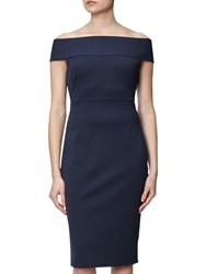 Adrianna Papell Petite Off Shoulder Fitted Dress Blue Moon