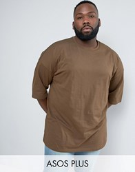Asos Plus Oversized T Shirt In Brown With Half Sleeve Balsam