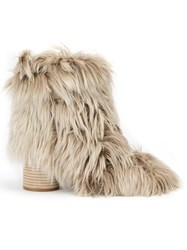 Maison Martin Margiela Fur Ankle Boots Nude And Neutrals