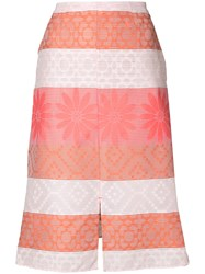 Julien David Patterned A Line Skirt Cotton Polyester White