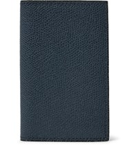 Valextra Pebble Grain Leather Bifold Cardholder Navy