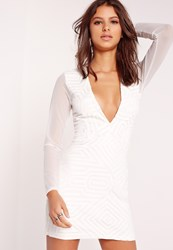 Missguided Plunge Faux Leather Trim Bodycon Dress White White