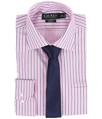 Lauren Ralph Lauren Striped Oxford Spread Collar Classic Button Down Shirt Pink White Navy Men's Long Sleeve Button Up Multi