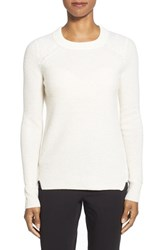 Women's White Warren Thermal Knit Crewneck Cashmere Sweater Pearl White