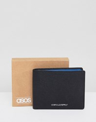 Asos Design Leather Wallet In Black Saffiano With Blue Internal Detail