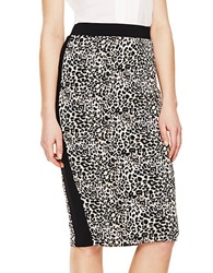 Vince Camuto Tuxedo Striped Leopard Pencil Skirt Rich Black