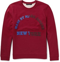 Marc By Marc Jacobs University Logo Printed Loopback Cotton Sweatshirt Red
