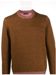 Roberto Collina Long Sleeve Fitted Jumper Brown