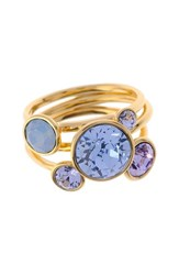 Women's Ted Baker London 'Jackie' Crystal Stacking Rings Pale Blue Gold Set Of 3