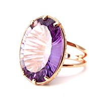 Geraldine Valluet Ring Antoinette Collection Pink Gold Amethyst Sapphires And Diamonds Green Rose Gold Pink