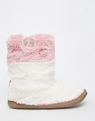 Bedroom Athletics Fern Cream Slipper Boots Creamduskypink